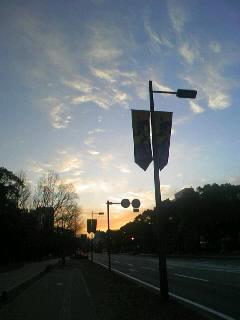 朝日の中の平和大通り