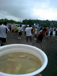 マラソンゴール後の豚汁
