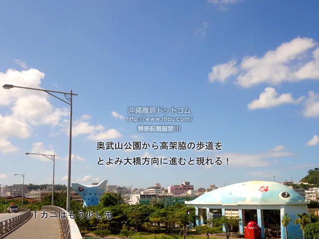 奥武山公園から高架脇の歩道をとよみ大橋方向に進むと現れる!