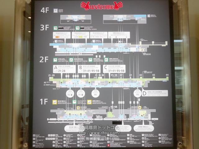 那覇空港マップ(左から国際線・連結/LCC・国際線)