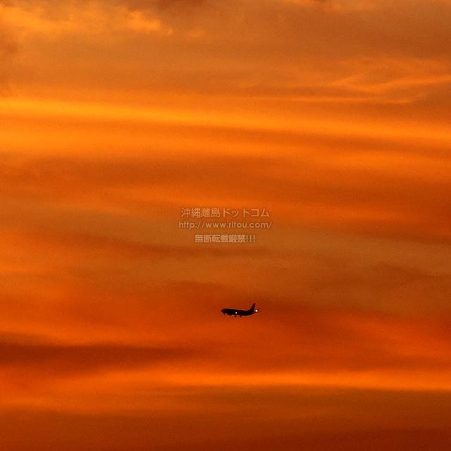 2019/08/27 の夕日と/航空機