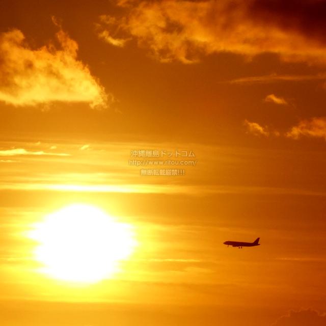 2019/08/30 の夕日と/航空機
