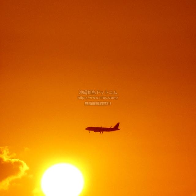 2019/09/02 の夕日と/航空機