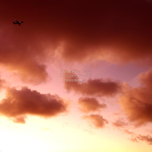 2019/09/11 の夕日と/航空機