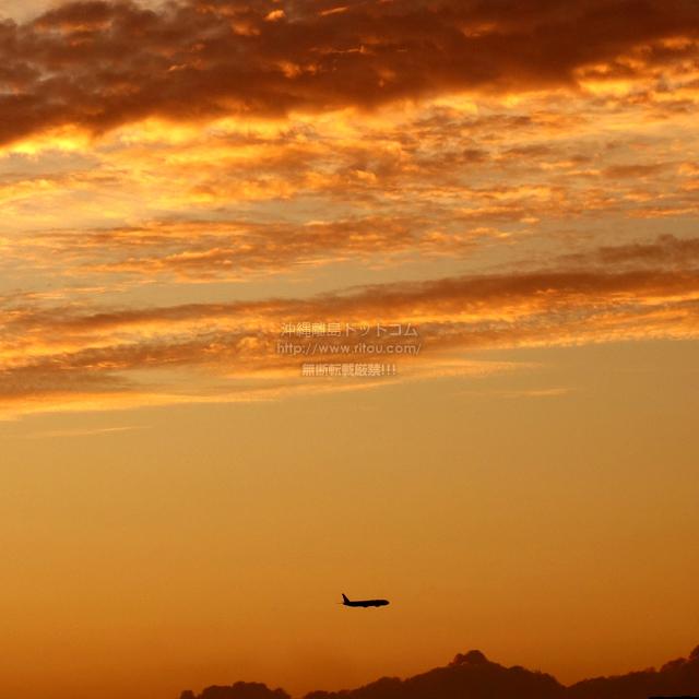2019/09/24 の夕日と/航空機