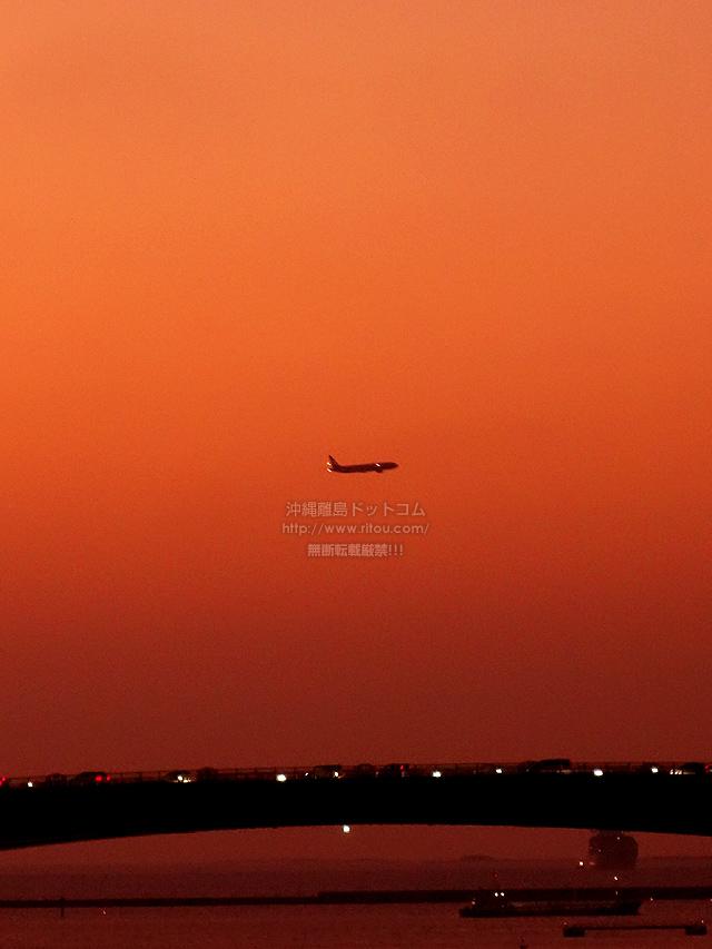 2019/10/05 の夕日と/航空機