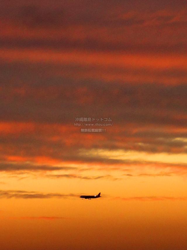 2020/02/25 の夕日と/航空機