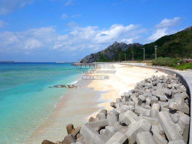 渡名喜島のタカタ浜/高田浜/ごみ焼却施設前のビーチ