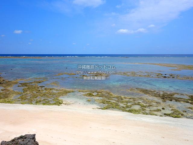 粟国島の照喜名原のモンパの木群落/ビーチ