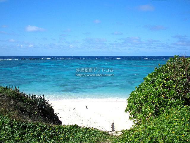 眼下に広がる雄大な海と砂浜(与論島の壁紙/写真)