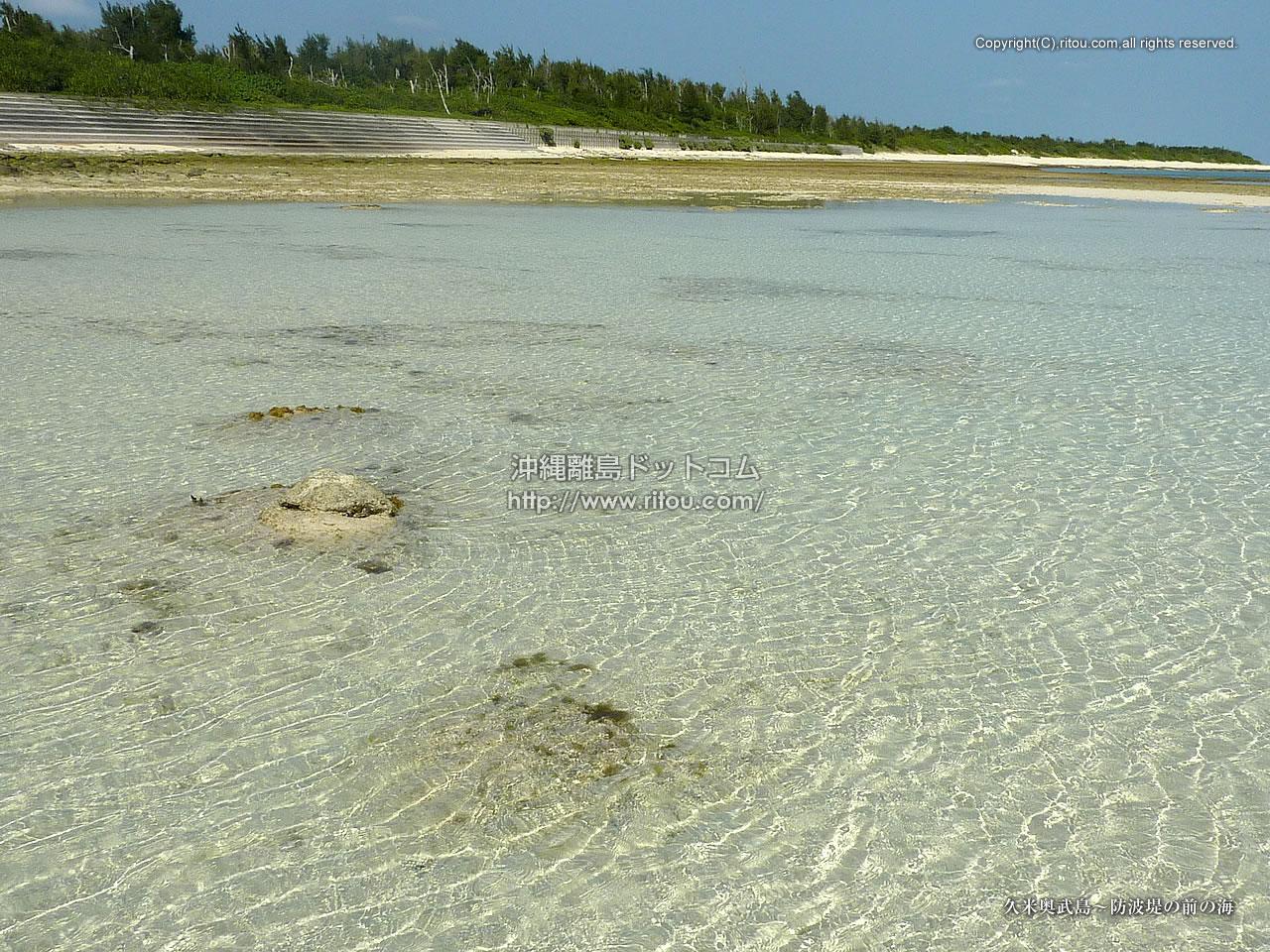 久米奥武島〜防波堤の前の海