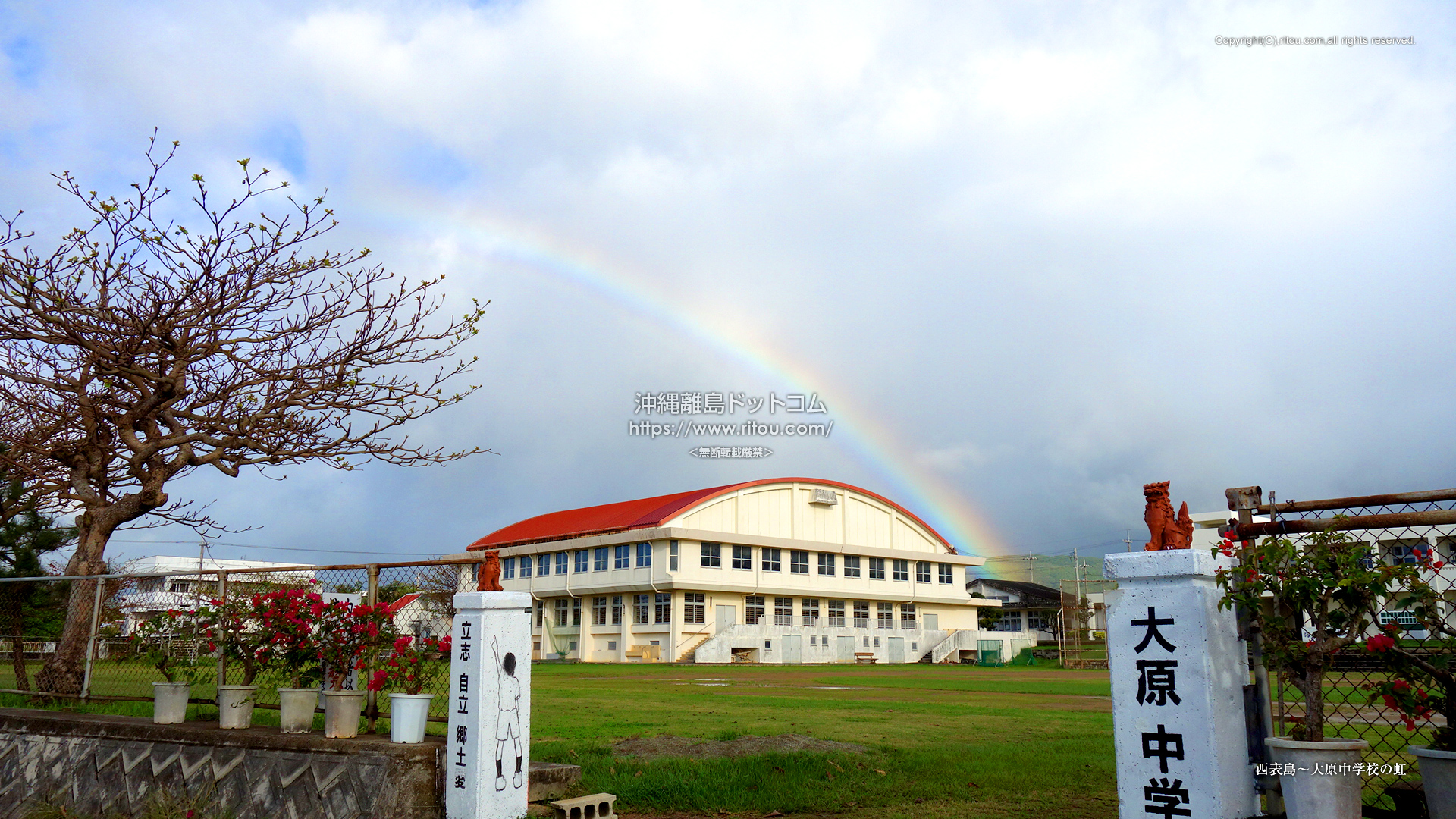 西表島〜大原中学校の虹