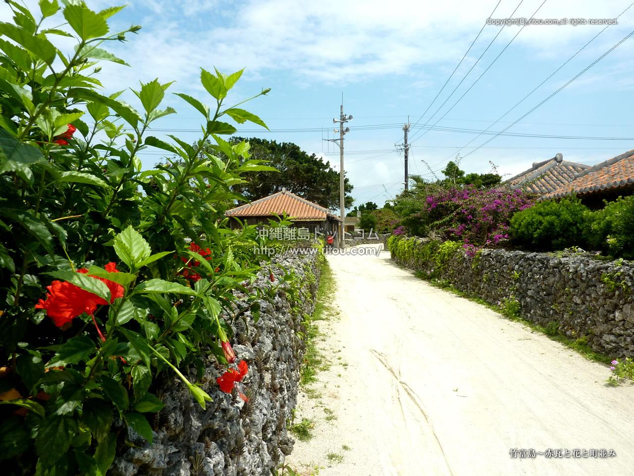 竹富島〜赤瓦と花と町並み