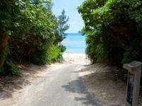 粟国島のウーグの浜/長浜ビーチ - ビーチへのアプローチもいい感じ