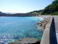 阿嘉島の阿嘉ビーチ - 港側はテトラポットもあるけど・・・