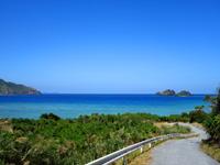 阿嘉島の後原ビーチ/クシバルビーチ - 山道の先に青々した海が見えます
