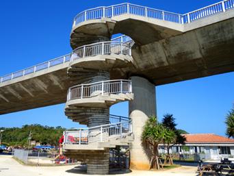阿嘉島の阿嘉大橋らせん階段「阿嘉港ターミナルの裏にあります」