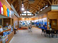 阿嘉島のさんごゆんたく館/慶良間諸島国立公園ビジターセンター - 館内は天井が高く明るい