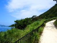 慶留間島の慶留間島横断道 阿嘉大橋側/展望台 - かなり急勾配の坂と階段
