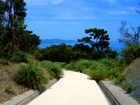 慶留間島の慶留間島横断道 慶留間集落側 - 頂上部分はスロープ