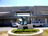 阿嘉島のシロの像 - フェリーターミナルの真っ正面にあります
