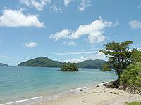 奄美大島の白浜の小島 - 白浜海岸の砂浜の端にあります