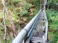 奄美大島のアランガチの滝上/滝上へのルート - 滝上にはメンテナンス用ブリッジ
