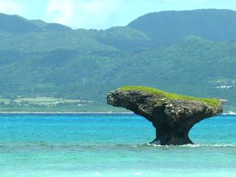 新城島のノッチ岩「靴のような見事な形のノッチ岩」