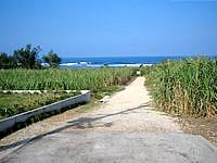 中部の真栄田岬ビーチ - 真栄田岬への脇道の先にある入口