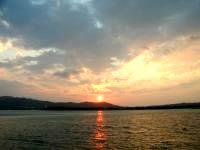 久米奥武島の奥武島からの夕日の写真