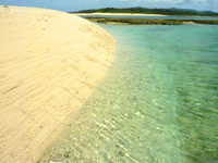 オーハ島のオーハと奥武の間の砂地 - この光景、はての浜的
