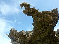 オーハ島のイチュンザ岩の東島 - 印象的な岩。龍みたい