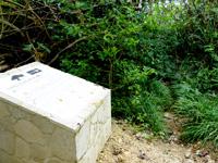波照間島の浜シタン群落 - 新しい石碑があるけど矢印の先行けるの?