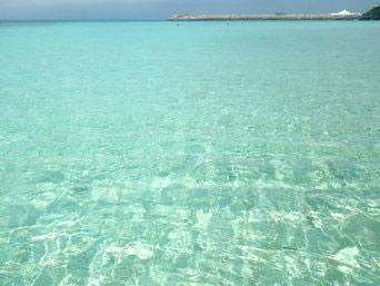 ニシ浜の海の色