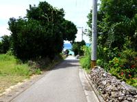 鳩間島の島のメインロード - 集落の中腹から港を望む(あやぐの脇)