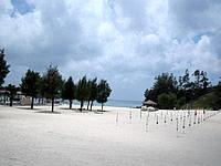 北部のかりゆしビーチ - 白い砂浜が広がります