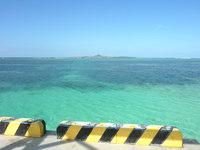 北部の備瀬の桟橋 - 遠くに伊江島のタッチューが望めます