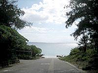 伊江島の伊江ビーチ西 - 海へはこんな感じで下っていきます