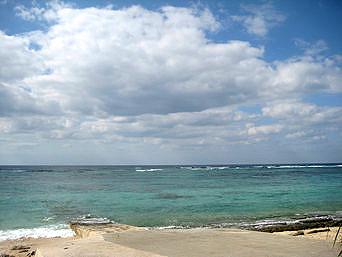 調整池先のビーチ