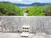 西表島の船浮ビーチ/船浮集落の海 - ビーチへ行くためのブロックの階段有り