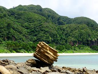 船浮 イダの浜の岩場/落ちない岩/転けない岩