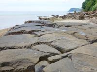 西表島の船浮 イダの浜の岩場/落ちない岩/転けない岩 - 畳石のような場所も!?