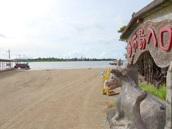 西表島の由布島入口/水牛車休憩所「由布島は目と鼻の先!」