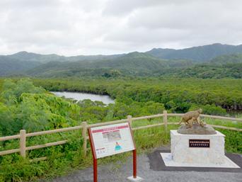 西表島の後良川/ロードパーク/親子ヤマネコ銅像