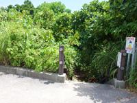 石垣島の大崎ビーチ/屋良部崎南ビーチ - 駐車場脇にビーチへの階段あり