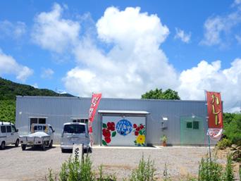 石垣島の居食亭がきや「倉庫のような外観だけど幟でお店とわかる!」