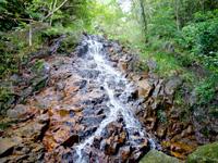石垣島の於茂登岳の滝 - 斜爆って感じで斜めに滑り落ちる水