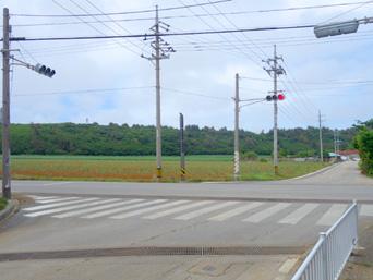 北大東島の北大東島の集落「島唯一の信号がJA脇に有り!」