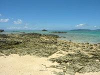 浜島の浜島の東の海:大潮 - 東側の北へ行くと岩場になります