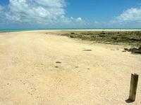 浜島の浜島の東の海:大潮 - 境界杭から浜島全体を見る